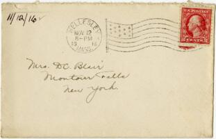 Letter from Eleanor Blair, Wellesley, Massachusetts, to Mrs. D.C. Blair, Montour Falls, New York, 1916 November 12
