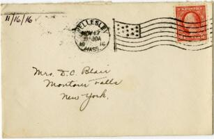 Letter from Eleanor Blair, Wellesley, Massachusetts, to Mrs. D.C. Blair, Montour Falls, New York, 1916 November 16