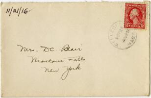 Letter from Eleanor Blair, Wellesley, Massachusetts, to Mrs. D.C. Blair, Montour Falls, New York, 1916 November 21