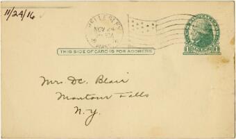 Postcard from Eleanor Blair, Wellesley, Massachusetts, to Mrs. D.C. Blair, Montour Falls, New York, 1916 November 24