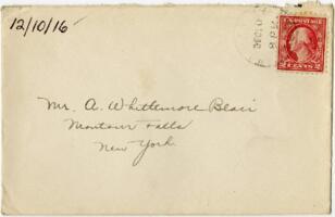 Letter from Eleanor Blair, Wellesley, Massachusetts, to Mr. A.W. Blair, Montour Falls, New York, 1916 December 10