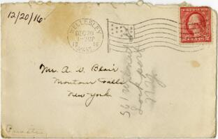 Letter from Eleanor Blair, Wellesley, Massachusetts, to Mr. A.W. Blair, Montour Falls, New York, 1916 December 20