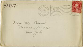 Letter from Eleanor Blair, Wellesley, Massachusetts, to Mrs. D.C. Blair, Montour Falls, New York, 1917 January 28