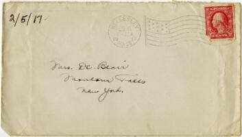 Letter from Eleanor Blair, Wellesley, Massachusetts, to Mrs. D.C. Blair, Montour Falls, New York, 1917 February 5