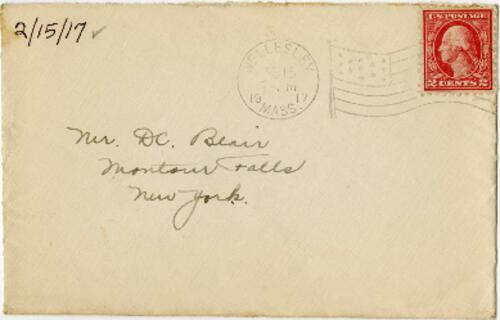 Letter from Eleanor Blair, Wellesley, Massachusetts, to Mr. D.C. Blair, Montour Falls, New York, 1917 February 15