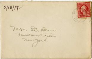 Letter from Eleanor Blair, Wellesley, Massachusetts, to Mrs. D.C. Blair, Montour Falls, New York, 1917 February 18