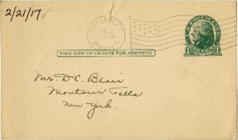 Postcard from Eleanor Blair, Wellesley, Massachusetts, to Mr. D.C. Blair, Montour Falls, New York, 1917 February 21