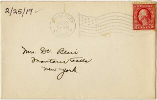 Letter from Eleanor Blair, Wellesley, Massachusetts, to Mrs. D.C. Blair, Montour Falls, New York, 1917 February 25