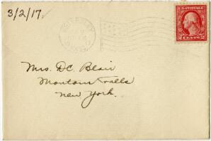 Letter from Eleanor Blair, Wellesley, Massachusetts, to Mrs. D.C. Blair, Montour Falls, New York, 1917 March 2