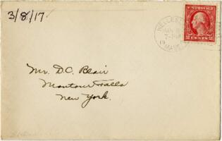 Letter from Eleanor Blair, Wellesley, Massachusetts, to Mr. D.C. Blair, Montour Falls, New York, 1917 March 8