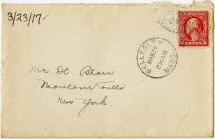 Letter from Eleanor Blair, Wellesley, Massachusetts, to Mr. D.C. Blair, Montour Falls, New York, 1917 March 23