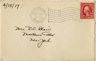 Letter from Eleanor Blair, Wellesley, Massachusetts, to Mrs. D.C. Blair, Montour Falls, New York, 1917 April 15