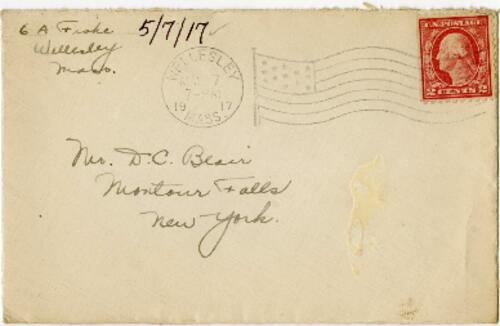 Letter from Eleanor Blair, Wellesley, Massachusetts, to Mr. D.C. Blair, Montour Falls, New York, 1917 May 7