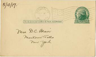 Postcard from Eleanor Blair, Wellesley, Massachusetts, to Mrs. D.C. Blair, Montour Falls, New York, 1917 May 10
