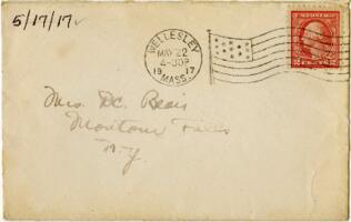 Letter from Eleanor Blair, Wellesley, Massachusetts, to Mrs. D.C. Blair, Montour Falls, New York, 1918 May 17