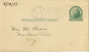 Postcard from Eleanor Blair, Wellesley, Massachusetts, to Mrs. D.C. Blair, Montour Falls, New York, 1917 May 18