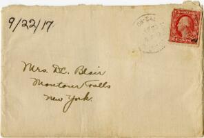 Letter from Eleanor Blair, Wellesley, Massachusetts, to Mrs. D.C. Blair, Montour Falls, New York, 1917 September 22