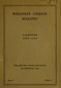 Wellesley College Bulletin Calendar 1923-1924