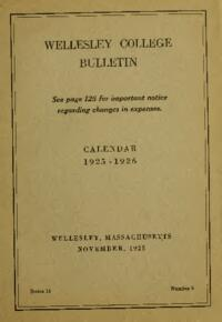 Wellesley College Bulletin Calendar 1925-1926