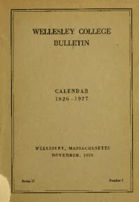 Wellesley College Bulletin Calendar 1926-1927