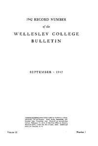 1942 Record Number of the Wellesley College Bulletin