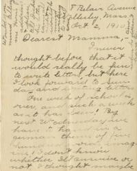Letter from Jane W. Cary, Wellesley, Massachusetts to Mrs. Wren B. Cary, Windsor, Connecticut, 1910 October 2