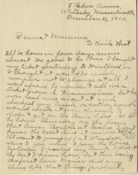 Letter from Jane W. Cary, Wellesley, Massachusetts to Mrs. Wren B. Cary, Windsor, Connecticut, 1910 December 11
