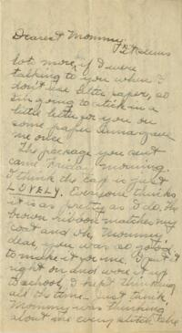 Letter from Jane W. Cary, Wellesley, Massachusetts to Mrs. Wren B. Cary, Windsor, Connecticut, 1910 or 1911