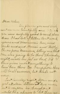 Letter from Jane W. Cary, Wellesley, Massachusetts to Helen Cary, Windsor, Connecticut, 1910 or 1911