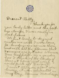 Letter from Jane W. Cary, Wellesley, Massachusetts to Betty, Windsor, Connecticut, 1910 or 1911
