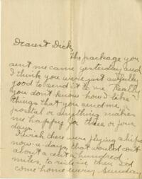Letter from Jane W. Cary, Wellesley, Massachusetts to Dick, Hartford, Connecticut, 1910 or 1911