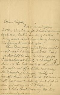 Letter from Jane W. Cary, Wellesley, Massachusetts to Mr. Wren B. Cary, Windsor, Connecticut, 1910 or 1911