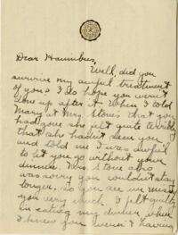Letter from Jane W. Cary, Wellesley, Massachusetts to Harriman's, 1911 or 1912