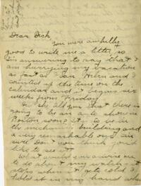 Letter from Jane W. Cary, Wellesley, Massachusetts to Dick, Hartford Connecticut, 1911 or 1912