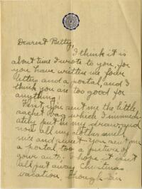 Letter from Jane W. Cary, Wellesley, Massachusetts to Betty, Windsor, Connecticut, 1911 or 1912