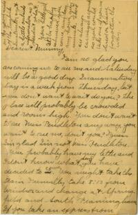 Letter from Jane W. Cary, Wellesley, Massachusetts to Mrs. Wren B. Cary, Windsor, Connecticut, 1911 or 1912