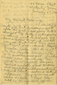 Letter from Jane W. Cary, Wellesley, Massachusetts to Mrs. Wren B. Cary, Windsor, Connecticut, 1912 January 28