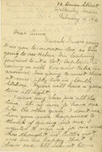 Letter from Jane W. Cary, Wellesley, Massachusetts to Anna, 1912 February 4