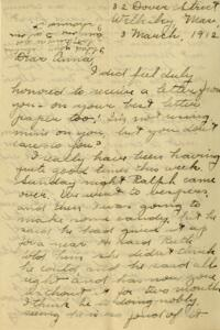 Letter from Jane W. Cary, Wellesley, Massachusetts to Anna, 1912 March 3