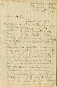 Letter from Jane W. Cary, Wellesley, Massachusetts to Helen Cary, Windsor, Connecticut, 1912 March 10