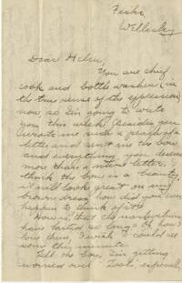 Letter from Jane W. Cary, Wellesley, Massachusetts to Helen Cary, Windsor, Connecticut, 1912 or 1913