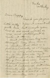 Letter from Jane W. Cary, Wellesley, Massachusetts to Poppy, 1912 or 1913