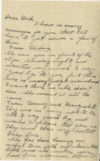 Letter from Jane W. Cary, Wellesley, Massachusetts to Dick, Hartford, Connecticut, 1912 or 1913