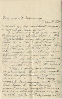 Letter from Jane W. Cary, Wellesley, Massachusetts to Mrs. Wren B. Cary, Windsor, Connecticut, 1912 or 1913