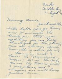 Letter from Jane W. Cary, Wellesley, Massachusetts to Mrs. Wren B. Cary, Windsor, Connecticut, 1913 September 21