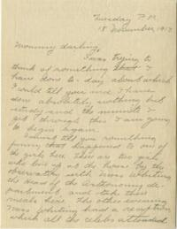 Letter from Jane W. Cary, Wellesley, Massachusetts to Mrs. Wren B. Cary, Windsor, Connecticut, 1913 November 18