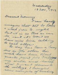 Letter from Jane W. Cary, Wellesley, Massachusetts to Mrs. Wren B. Cary, Windsor, Connecticut, 1913 November 19