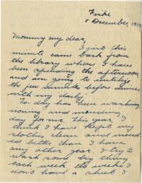 Letter from Jane W. Cary, Wellesley, Massachusetts to Mrs. Wren B. Cary, Windsor, Connecticut, 1913 December 5