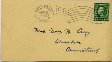 Postcard from Jane W. Cary, Wellesley, Massachusetts to Mrs. Wren B. Cary, Windsor, Connecticut, 1914 January 8