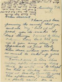 Letter from Jane W. Cary, Wellesley, Massachusetts to Mrs. Wren B. Cary, Windsor, Connecticut, 1914 February 15